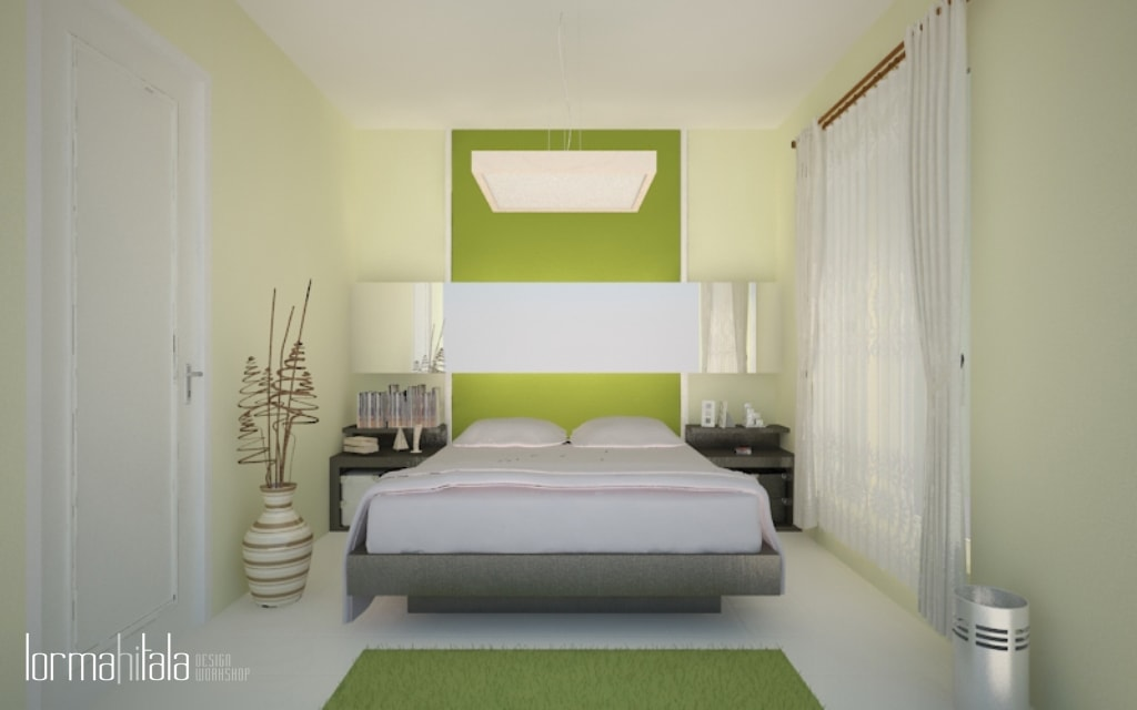 Green-themed bedroom with large windows wallpaper