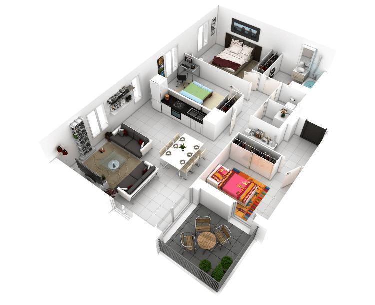 17 Gambar Denah Rumah Minimalis Keluarga 3 Kamar Sejasa Sumber