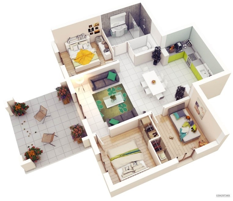 17 Gambar Denah Rumah Minimalis Keluarga 3 Kamar Sejasa Com