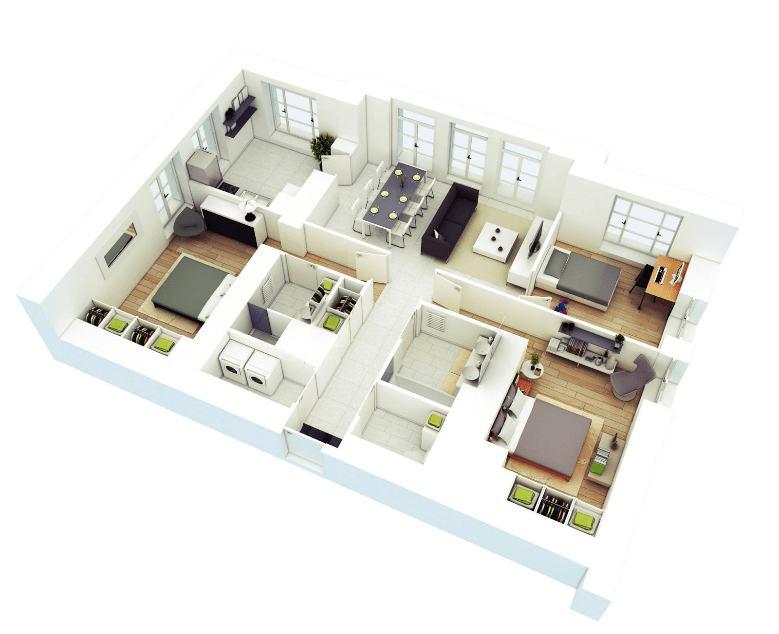 17 Gambar Denah Rumah Minimalis Keluarga 3 Kamar Sejasa
