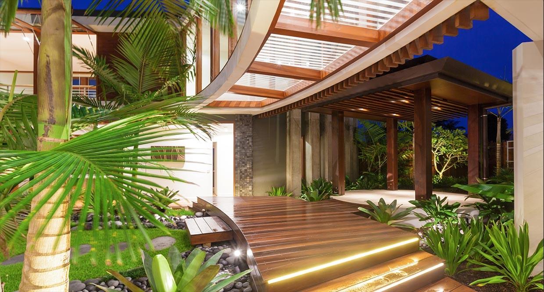 gaya desain rumah tropical